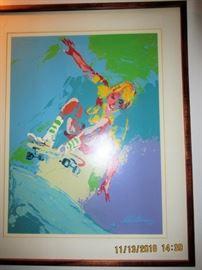 Leroy Nieman skateboard signed lithograph