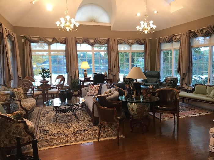 Living Room View of home. All is for sale, including chandeliers and drapes.