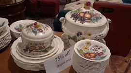 What a bargain and just in time for Thanksgiving! Tureen, soup bowls, dinners plates, salad plates and other small accessories.
