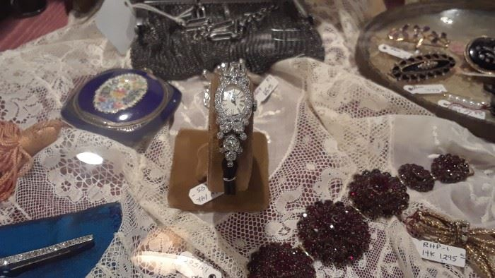 Antique and Victorian garnets, diamonds, and other lovely pieces.
