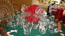 Punch Bowl, Candlewick bowl and 32 Glasses
