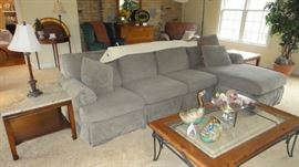 Kittinger marble top end tables, Walter E. Smithe sectional with recliner and chaise. Coffee table