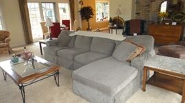 Walter E. Smith Sectional Sofa with Chaise and Recliner, Kittinger end tables,