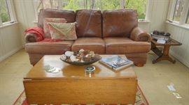 Thomasville Leather sofa, matching chair and ottoman, oak drop leaf coffee table