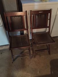 Pair of Leather and Wood Folding Chairs.