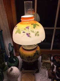 Antique Glass Shade Lamp.
