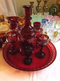 Cranberry Cordial Set.