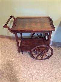 Wood Tea Cart with Glass Top.