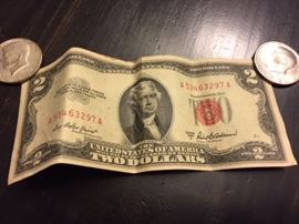 1953 Red Seal Two Dollar Bill.