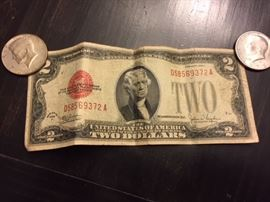 1928 Red Seal Two Dollar Bill.
