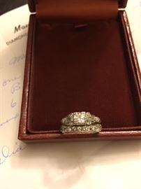Diamond Ring Center Stone 35/100 with Platinum Mounting. 7 Smaller 1/100 Diamonds.