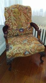 Carved Edwuardian Tapestry Chair with Velvet Arms