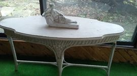 Wicker Table, Cement Lady on Chaise