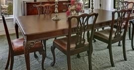 Chippendale Style Dining Set with 2 leaves, 6 Chairs and Table Pads