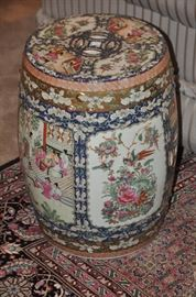"""Wonderfully painted 18.5"""" porcelain Asian Garden Stools (2 available)"""