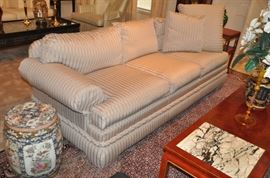"""One of the two stunning  88"""" Vanguard Sofas, made in N. Carolina upholstered in a taupe tone on tone strip fabric made with 3 pillow cushion backs and seats. 36""""d x 28""""h (one sold)"""