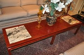 """Amazing sandlewood red lacquer with marble inserts and gold leaf trim Asian Style Coffee Table, 72""""w x 17""""d x 19""""h"""
