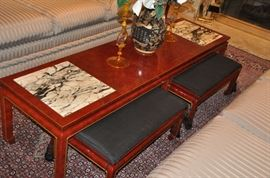 """Available with a pair of matching prayer stools with a removable black silk cushion, 28""""w x 11""""h x 16.5""""d!"""