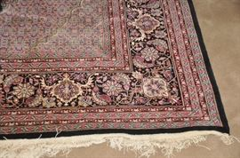 """Magnificent blue background with red overall hand made 100% wool Sarouk Area Rug, 8'8"""" x 12'"""