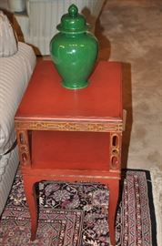 """One of the two red and gold painted petite side tables available, 15""""w x 24.5""""h x 19""""d"""