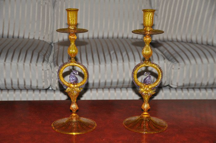 """Spectacular pair of 15"""" yellow and lavender Murano Glass vintage Candle Holders"""