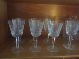 Waterford crystal wine glasses seven total