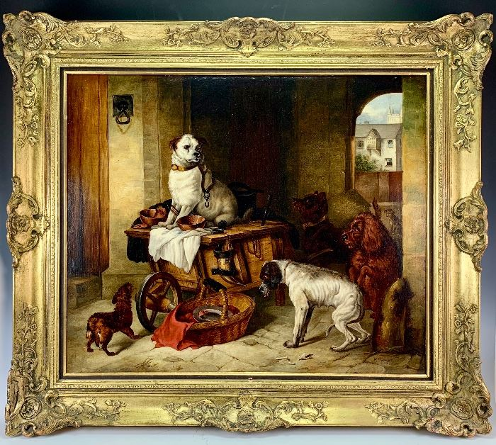 Antique Large Dogs in Courtyard Painting
