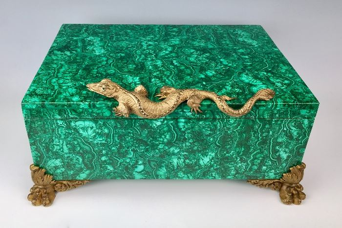 Large Malachite Chest with Bronze Dragon