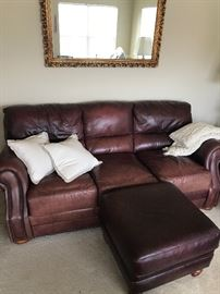 Leather couch with ottoman $280