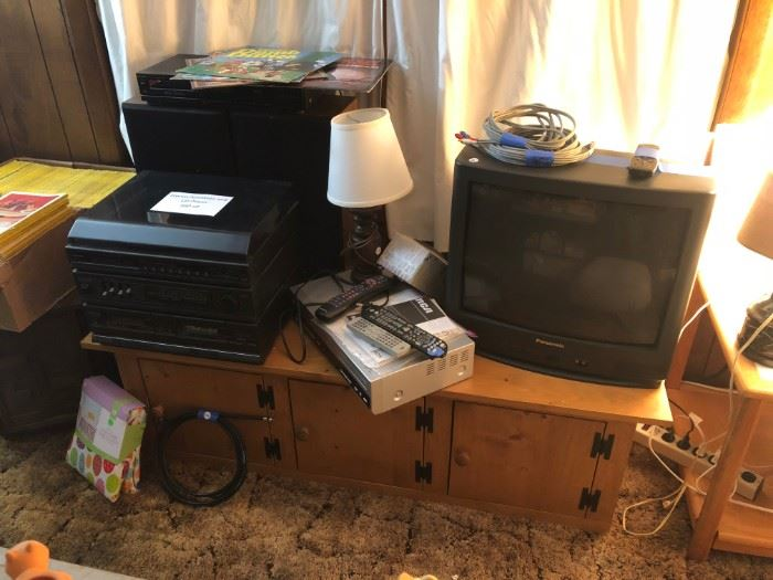 Stereo w/ Cassette, Phonograph, AM/FM tuner, CD player.  TV, VCR & TV stand.