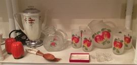 Occupied Japan tomato S & P shakers, vintage Royal Rochester electric percolator with poppy design, glass pitcher with tomato, Fire King frosted glass pitcher & 6 glasses with apples