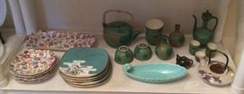 Chintz plates & tray, Japanese plate set, green Japanese tea set & sake set, Franciscan Coronado aqua celery dish, low Japanese teapot.