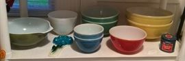 Pyrex mixing bowls - the lady of the house got married in the mid 1940s & some of these were wedding gifts (i.e. no numbers on bottom)