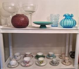 Colorful glass, Vernon Kilns Early California turquoise footed bowl, cups & saucers