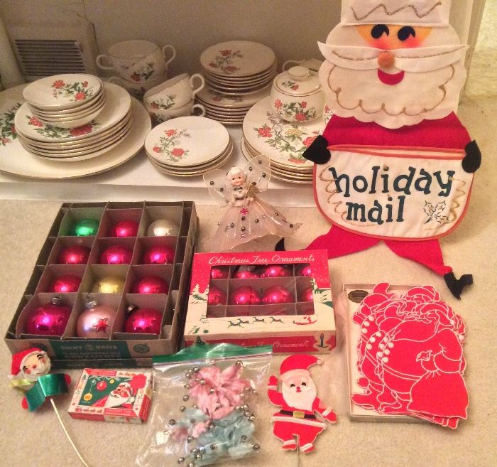 More vintage Xmas: boxed Shiny Brite ornaments, angel tree topper, chenille poinsettias, set of cloth Santa cocktail napkins, Santa mail holder
