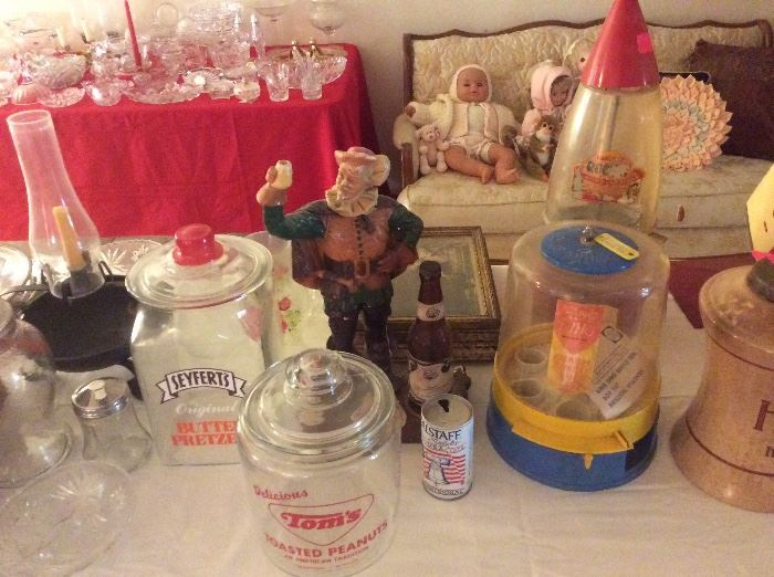 Vintage jars. The FALSTAFF  STATUE HAS BEEN BEEN DAMAGED AND REPAIRED.