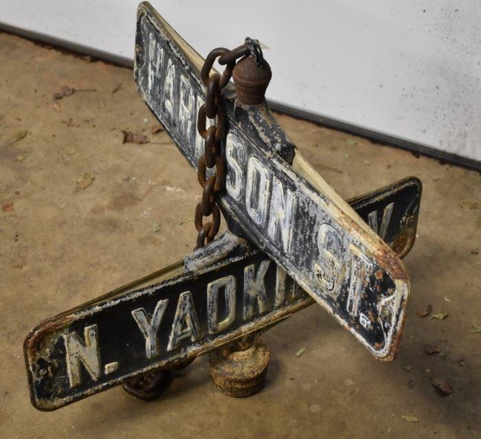 Early Metal Street Sign N. Yadkin.