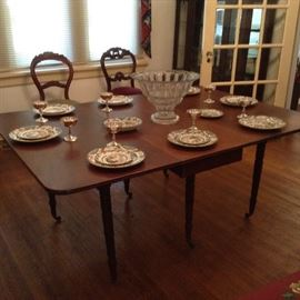 Sheraton style dining table; Punch bowl probably Heisey with stand, Silver plate sherberts