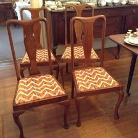 Queen Anne chairs with splat back circa 1900. Fabric on seats.
