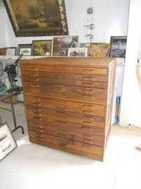 Antique Oak Map Cabinet