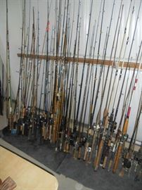 Over 150 Fishing Rods Many Bamboo, Fly Rods and Deep Sea