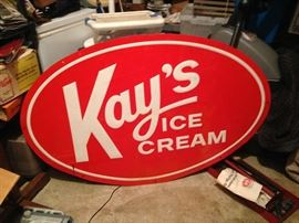 Vintage Large metal Kay's Ice Cream Sign