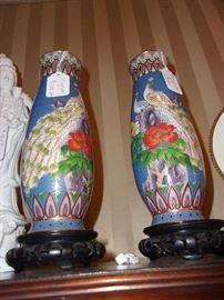 Pr Cloisonné Vase, Peacock