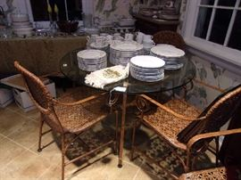 Glass & Iron Breakfast Table & 4 Chairs