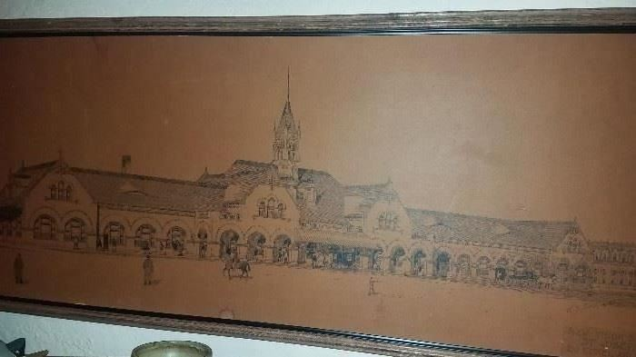 SUNDAY 50% OFF ALL REMAINING ITEMS!!Please plan on attending this weekend's Large 3 Day Estate Sale on historic Lovers Lane, St. Joseph. 3 floors FULL!! E. J. Eckel's signed drawing of 2nd Union Station, St. Joseph