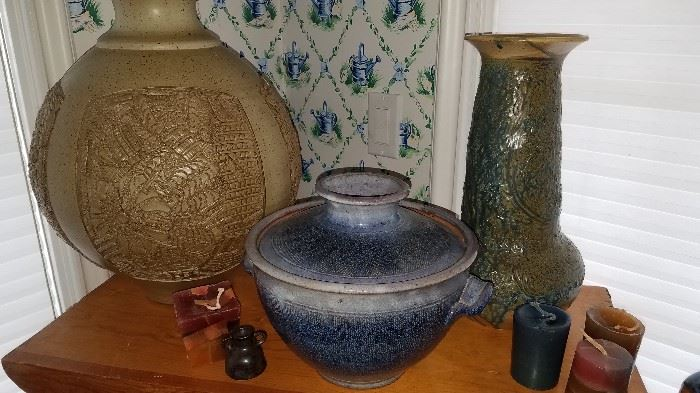 Large selection of pottery, crocks and stoneware