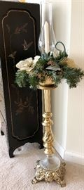 Brass floor candle holder