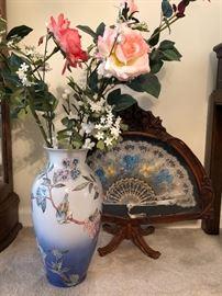 Oriental Vase and Wooden Fan Display
