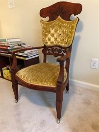 Ornate Hand Carved Gold Fabric Wooden Chair