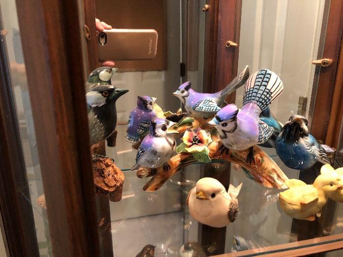 Assortment of porcelain birds